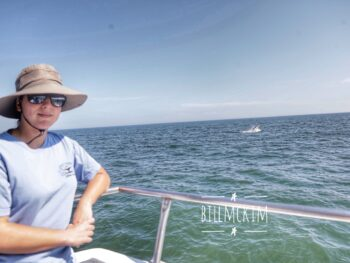 just another day at the office for Danielle with a whale breach in the background August 2020